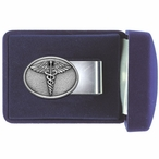 Caduceus Medical Symbol Steel Money Clip with Pewter Accent