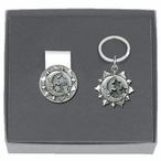 Celestial Money Clip & Key Chain Gift Set with Pewter Accents