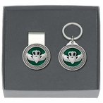 Claddagh Green Money Clip & Key Chain Gift Set with Pewter Accents