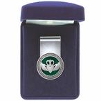 Claddagh Green Steel Money Clip with Pewter Accent