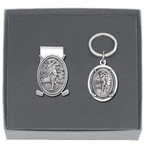 Classic Golfer Money Clip & Key Chain Gift Set with Pewter Accents