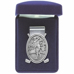Classic Golfer Steel Money Clip with Pewter Accent