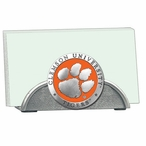 Clemson Tigers Orange Metal Business Card Holder with Pewter Accent