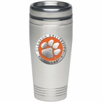 Clemson Tigers Orange Stainless Steel Travel Mug with Pewter Accent