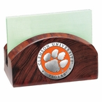 Clemson Tigers Orange Wood Business Card Holder with Pewter Accent