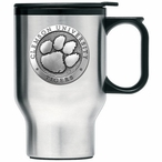 Clemson Tigers Stainless Steel Travel Mug with Handle & Pewter Accent