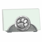 Clemson University Tigers Metal Business Card Holder w/ Pewter Accent