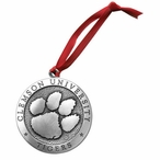 Clemson University Tigers Pewter Accent Ornaments, Set of 2