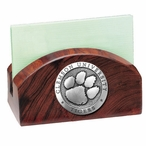 Clemson University Tigers Wood Business Card Holder with Pewter Accent