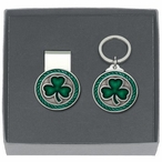 Clover Green Money Clip & Key Chain Gift Set with Pewter Accents