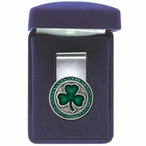 Clover Green Steel Money Clip with Pewter Accent