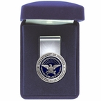 Department of Defense USA Blue Steel Money Clip with Pewter Accent