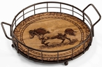 Distant Thunder Horse Metal and Wood Serving Trays, Set of 2