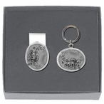 Dog Sled Money Clip & Key Chain Gift Set with Pewter Accents