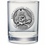 East Carolina Pirates Pewter Double Old Fashion Glasses, Set of 2