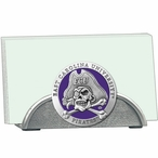 East Carolina Pirates Purple Metal Business Card Holder with Pewter
