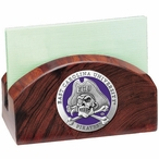 East Carolina Pirates Purple Wood Business Card Holder with Pewter