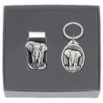 Elephant Money Clip & Key Chain Gift Set with Pewter Accents