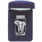 Elephant Steel Money Clip with Pewter Accent