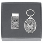 Elk Money Clip & Key Chain Gift Set with Pewter Accents