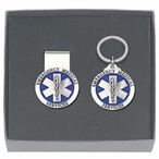 Emergency Medical Services Blue Money Clip & Key Chain Pewter Gift Set