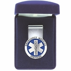 Emergency Medical Services Blue Steel Money Clip with Pewter Accent