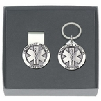 Emergency Medical Services Money Clip & Key Chain Pewter Gift Set