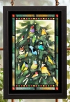 Exotic Christmas Birds in a Christmas Tree Stained Glass Wall Art