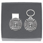 Firefighter Money Clip & Key Chain Gift Set with Pewter Accents