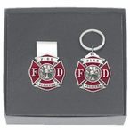 Firefighter Red Money Clip & Key Chain Gift Set with Pewter Accents