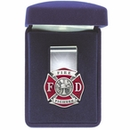 Firefighter Red Steel Money Clip with Pewter Accent