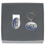 Float Plane Blue Money Clip & Key Chain Gift Set with Pewter Accents
