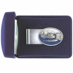 Float Plane Blue Steel Money Clip with Pewter Accent