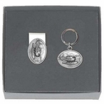 Float Plane Money Clip & Key Chain Gift Set with Pewter Accents