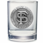 Florida State Seminoles Pewter Double Old Fashion Glasses, Set of 2