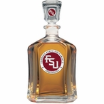 Florida State Seminoles Red Logo Capitol Glass Decanter with Pewter