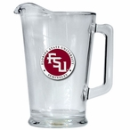 Florida State Seminoles Red Logo Glass Pitcher with Pewter Accent