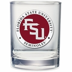 Florida State Seminoles Red Logo Pewter Accent DOF Glasses, Set of 2