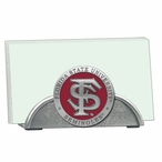 Florida State Seminoles Red Metal Business Card Holder with Pewter