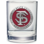 Florida State Seminoles Red Pewter Accent DOF Glasses, Set of 2