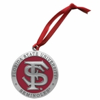 Florida State Seminoles Red Pewter Accent Ornaments, Set of 2