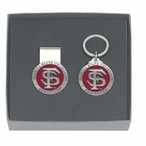 Florida State Seminoles Red Pewter Money Clip & Key Chain Gift Set