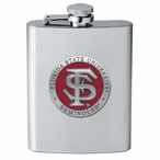Florida State Seminoles Red Stainless Steel Flask with Pewter Accent