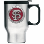 Florida State Seminoles Red Travel Mug with Handle & Pewter Accent