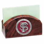 Florida State Seminoles Red Wood Business Card Holder w/ Pewter Accent
