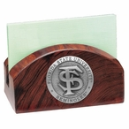 Florida State Seminoles Wood Business Card Holder with Pewter Accent