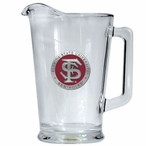Florida State University Seminoles Red Glass Pitcher w/ Pewter Accent