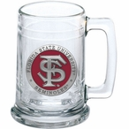 Florida State University Seminoles Red Pewter Accent Glass Beer Mug
