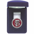 Florida State University Seminoles Red Pewter Accent Steel Money Clip