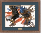 Freedom Flight Bald Eagle Bird Personalized Nameplate Framed Art Print